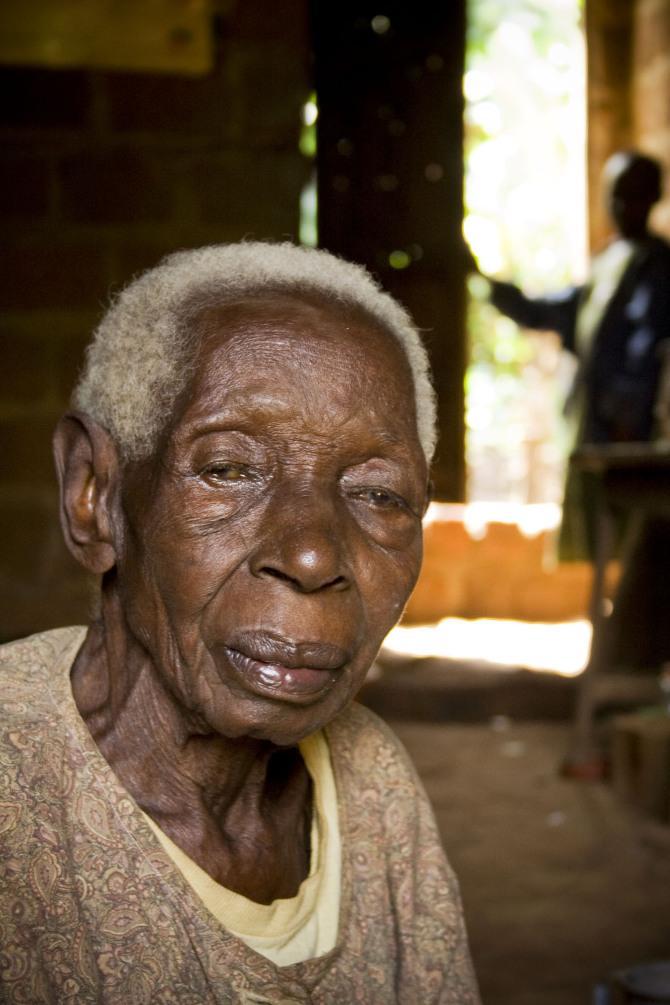 An elderly Ugandan woman.